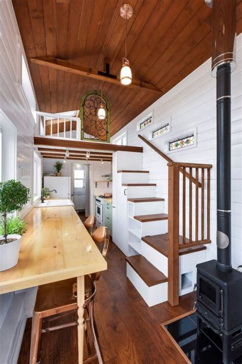 beautiful  mint tiny home  wheels  vaulted ceilings