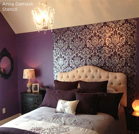 purple bedroom accent wall positively purple patterns stencil stories stencil stories