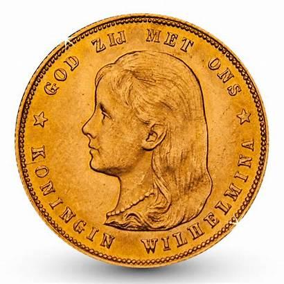 Gouden Wilhelmina Munt Hangend Tientje Haar 1897