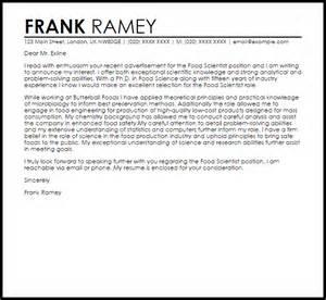 food scientist cover letter sle livecareer