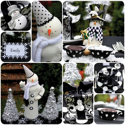 black and white christmas decorations for tables images