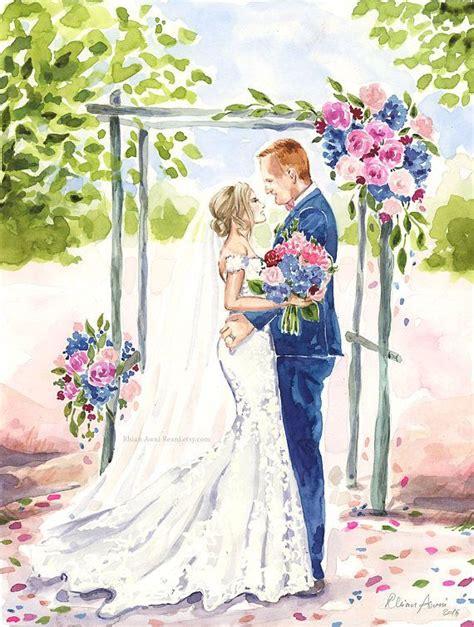 Bridal Portrait Wedding Illustration Bride Groom