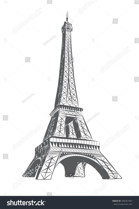 vector illustration eiffel tower drawn sketch stock vector
