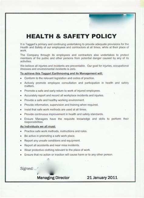 health and safety policy arrangement section of a health