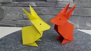 Hase Basteln Einfach : hase aus origami papier falten diy osterdeko 2018 basteln gestalten youtube ~ Orissabook.com Haus und Dekorationen