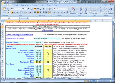 business valuation model excel