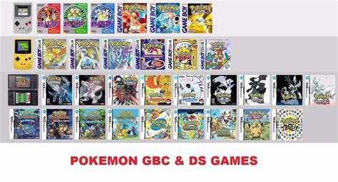 All Pokemon Ds Gb Gbc Games Compatible With Nds Ds Lite
