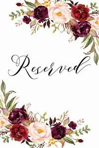 burgundy reserved sign portrait printable reserved signs