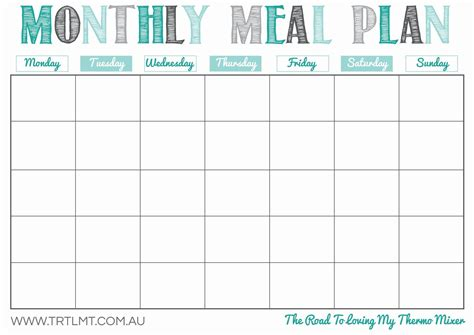 December Meal Planner Template by Monthly Meal Plan Template Printable Undated So You Can