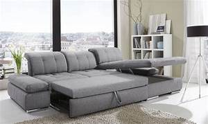 Alpine sectional sleeper sofa right arm chaise facing for Black fabric sectional sofa with chaise