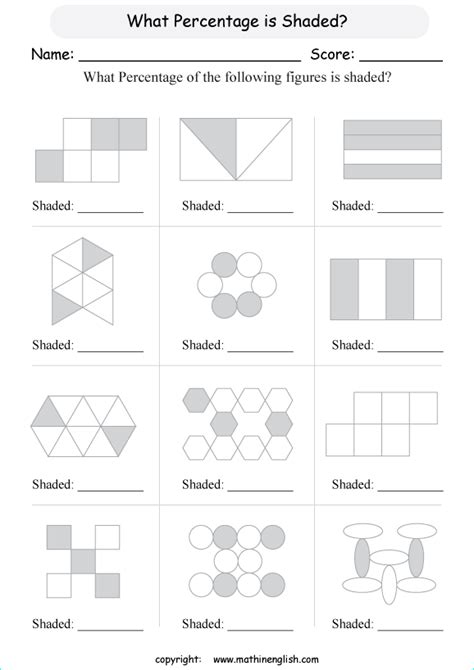 Math Percent Worksheet In Which You Have To Indicate What (basic) Percentage Of A Shape Is