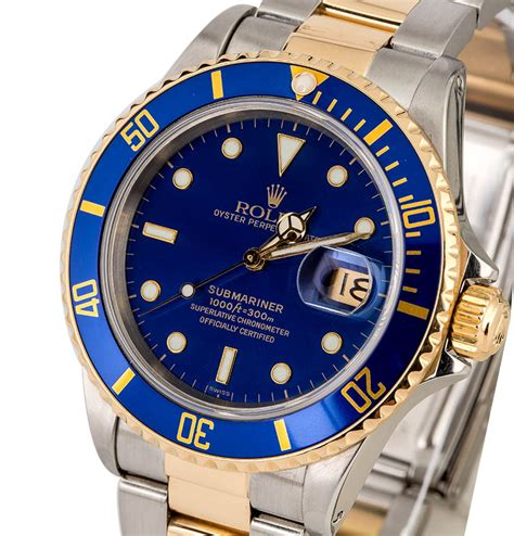 Rolex Submariner 16803 Blue Dial Two Tone Watch