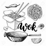 Wok Chinese Drawing Noodles Drawn Lettering Isolated Asian Vegetables Chopsticks Vettore Menu Sketch Seafood Detailed Illustrazione Aragosta Frutti Granchio Gamberetto sketch template
