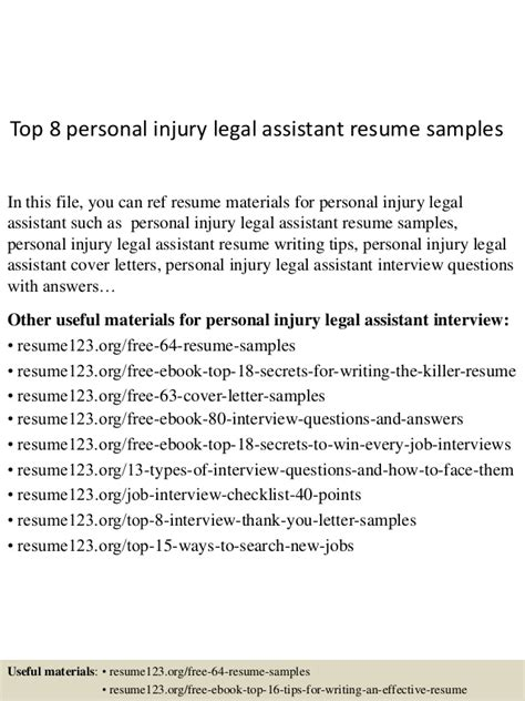 top 8 personal injury assistant resume sles