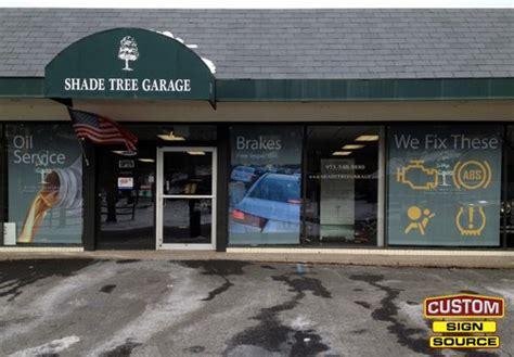 shade tree garage printed fabric window shades by custom sign source