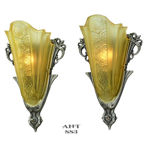 antique art deco ls art deco antique sconces pair slip shade wall lights by
