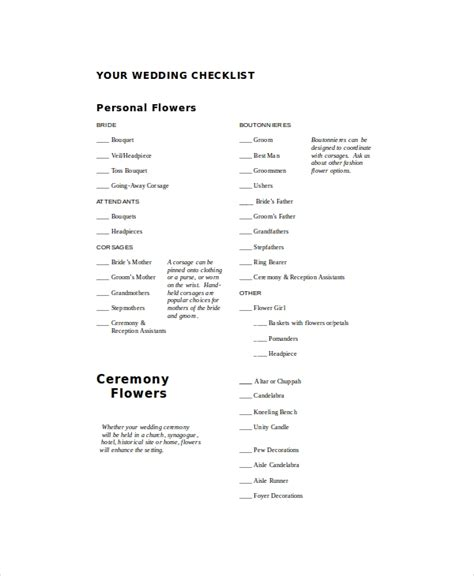 wedding checklist examples samples  word