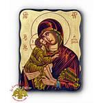 Icon Nioras Carved Wood Natural Theotokos