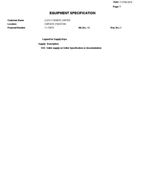 Equipments Specification 11-73074 - Alt60-00. | Correa