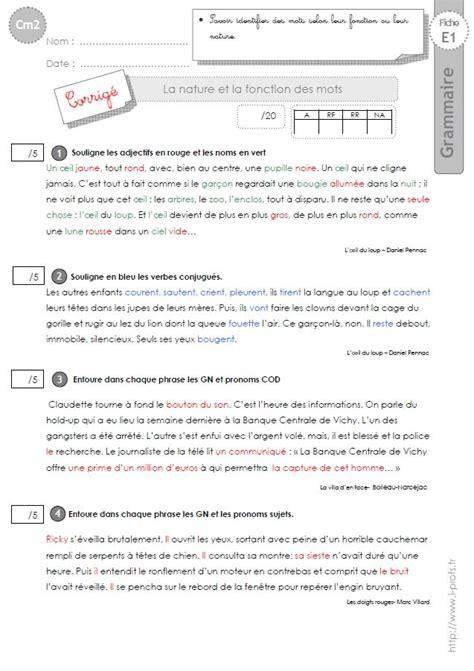 exercice nature des mots cm2 cm2 evaluation nature et fonction des mots