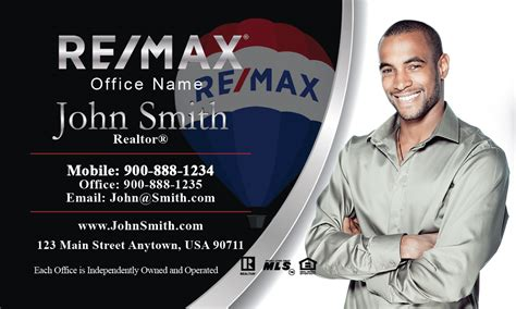 black  white remax realty business card design