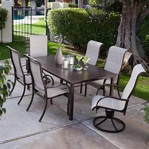 Furniture cape cod sling aluminum patio furniture patio for Aluminum patio furniture sets