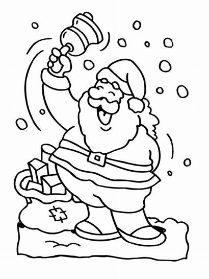 Coloring Santa Bell Pages Claus Ringing Boots