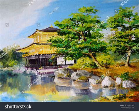 oil painting japanese garden lake  stock illustration