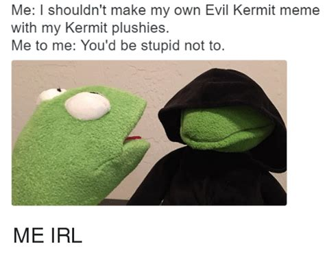 Make My Own Meme With My Own Picture - me i shouldn t make my own evil kermit meme with my kermit plushies me to me you d be stupid not