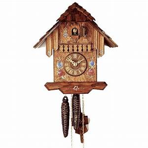 German, Cuckoo, Clock, With, Hand, Painted, Flowers