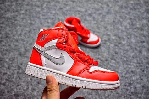 2017 Air Jordan 1 Kids Orange White Silver Shoes Online