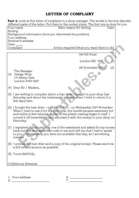 Letter of Complaint - ESL worksheet by Seal