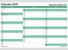 KALENDER 2019 mit Feiertagen & Ferien