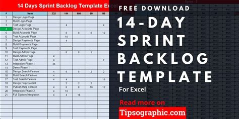day sprint backlog template  excel