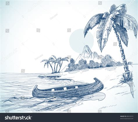 Boat On Beach Drawing by Beach Sketch Boat On Shore Palm Stock Vector 88923919