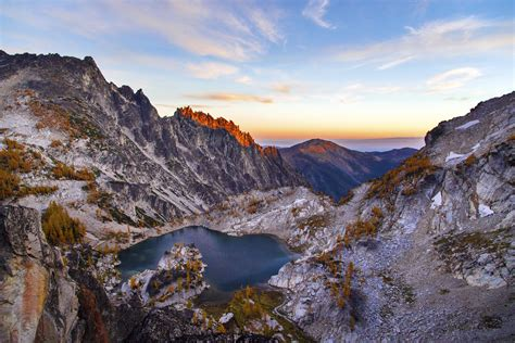 landscape mountains  rock crystal lake  sunset