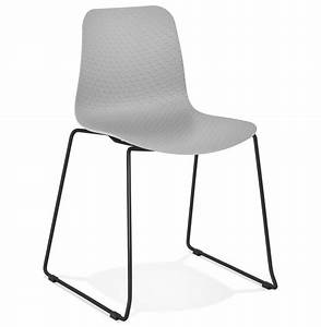 Chaise Pied Metal Noir : chaise moderne expo grise avec pieds en m tal noir ~ Teatrodelosmanantiales.com Idées de Décoration