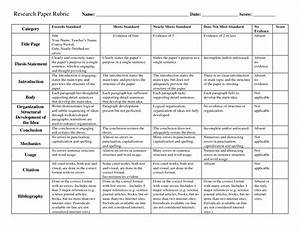 Rubric for research paper scope of work template for History rubric template