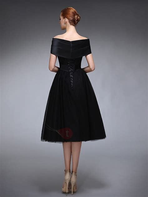 shoulder lace tea length black evening dress