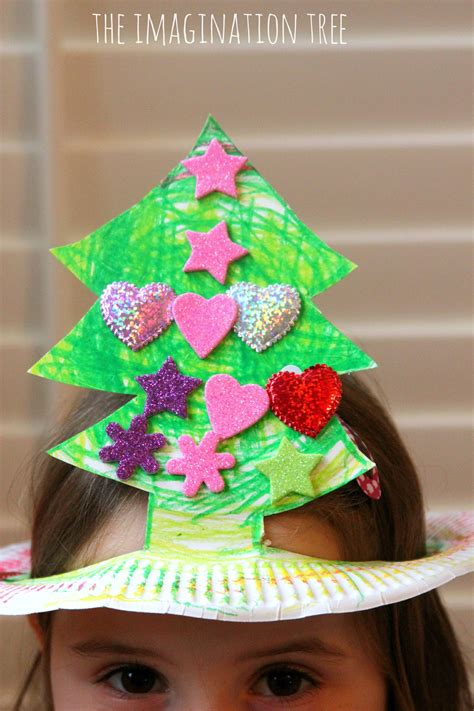 how to make christmas hats paper plate tree hat craft