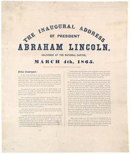 President Lincoln's Second Inaugural Address, 1865 ...