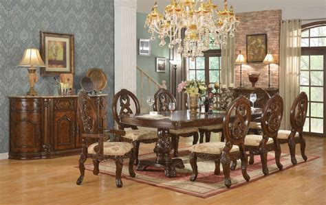 traditional dining room sets windham formal dining set cherry brown wood carved dining