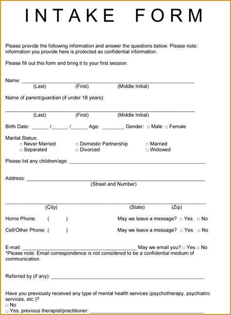 counseling intake form template fabtemplatez