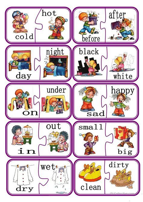 opposites puzzle game part  english esl worksheets