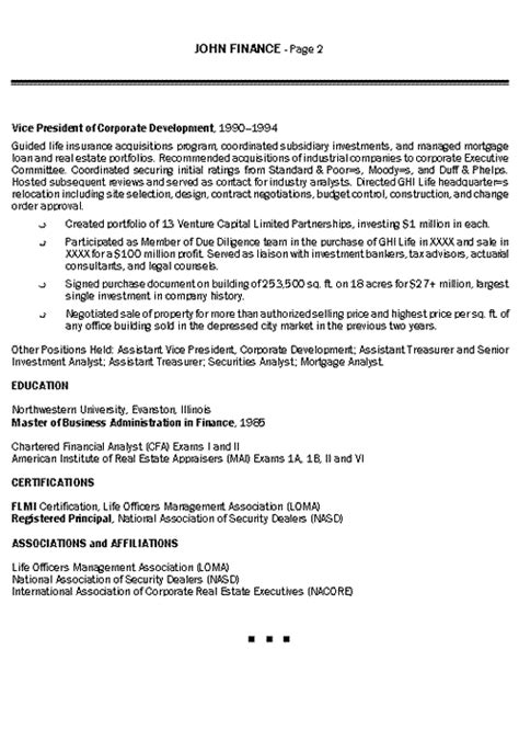 Financial Analyst Resume Sle by Resume For Finance