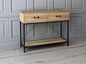 Console A Tiroir : console 2 tiroirs iron chene noir ~ Teatrodelosmanantiales.com Idées de Décoration