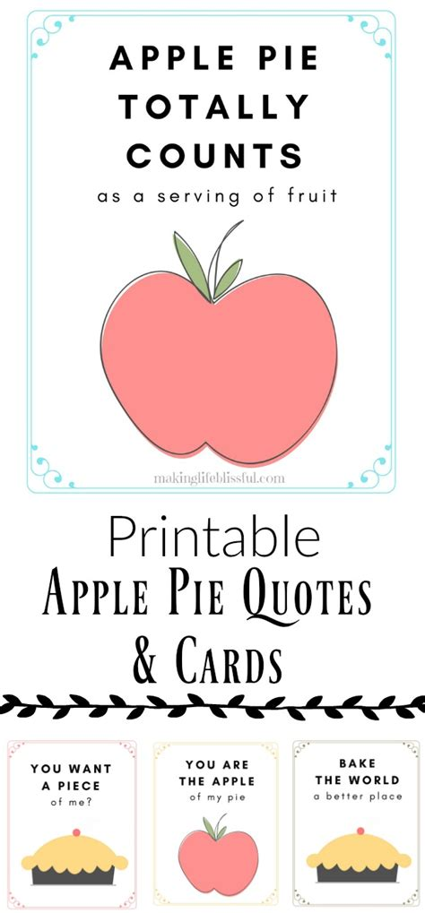 Apple Quote Apple Pie Printable Quotes And Cards Blissful