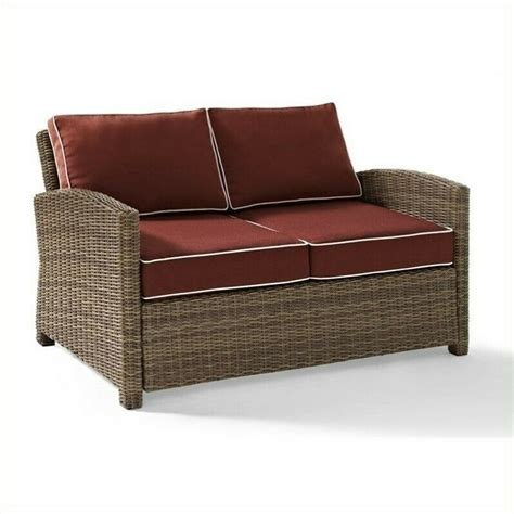 outdoor wicker settee cushions bradenton outdoor wicker loveseat with sangria cushions