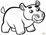 Coloring Cute Hippo Hippopotamus Baby Clipart Pages Printable Cartoon Drawing Animals Template Preschool Dot Paper Webstockreview Categories sketch template