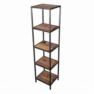 Etagere Metal Et Bois : etag re 4 niveaux bois m tal loft achat vente meuble ~ Nature-et-papiers.com Idées de Décoration